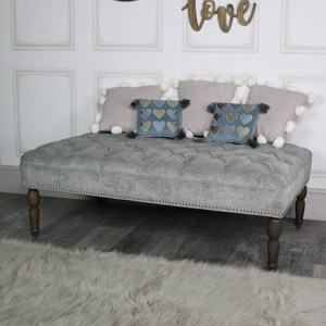 Silver Grey Upholstered Linen Bench