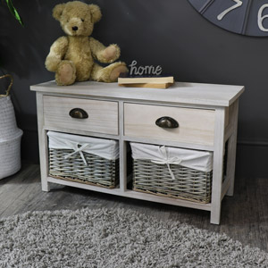 Vintage Grey Range - Two Drawer with Wicker Baskets Storage Bench