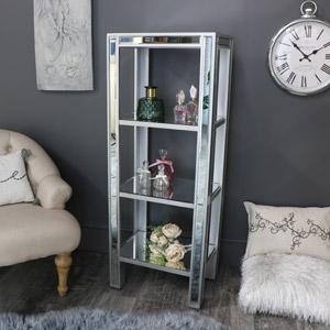Tall Mirrored Shelf Display Unit - Angelina Range