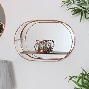 Copper Metal Wall Shelf with Mirror