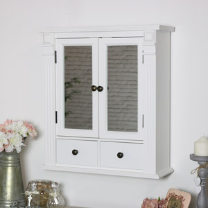 White Mirrored Bathroom Wall Cabinet