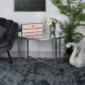 Large Antique Silver Round Mirrored Side Table
