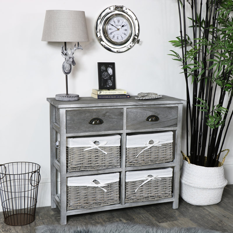 Vintage Grey Range - Drawer and Wicker Basket Storage Unit