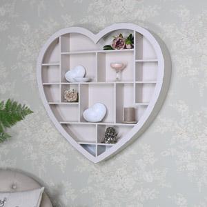 Cream Wooden Heart Multi Shelf Display Unit