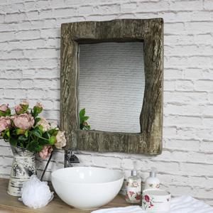 Rustic Wood Effect Wall Mirror 50cm x 62cm