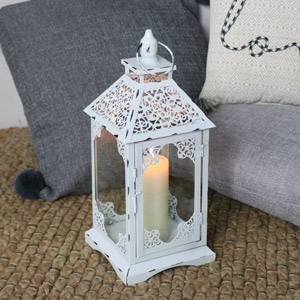 Ornate White Vintage Candle Lantern