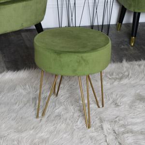 Green Velvet Stool