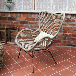 Rattan Wingback Garden Dining Chair