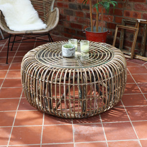Round Rattan Coffee Table with Glass Top