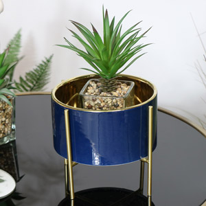 Round Blue Planter on Stand