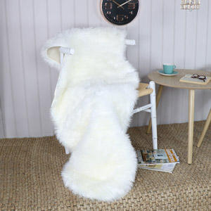 Double Pelt White Faux Fur Rug 65cm x 200cm