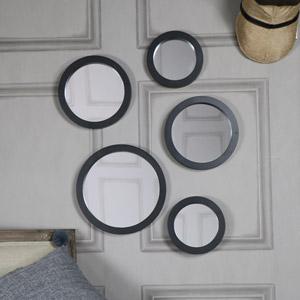 Set of 5 Round Black Wall Mirrors