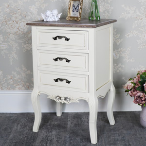 Georgette Range - Cream 3 Drawer Bedside