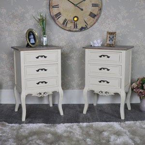 Pair of Ornate Cream 3 Drawer Bedside Chests - Georgette Range