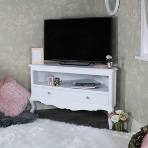 White Corner TV Cabinet - Elise White Range