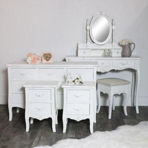 White 6 Piece Bedroom Furniture Set - Jolie Range