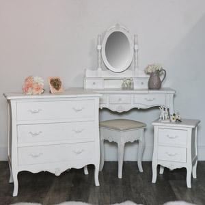 White 5 Piece Bedroom Furniture Set - Jolie Range