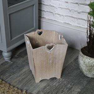 Rustic Wooden Heart Waste Paper Bin