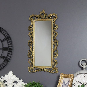 Antique Gold Ornate Slim Wall Mirror 26cm x 51cm