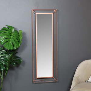 Large Copper Metal Framed Wall Mirror 38.5cm x 114cm