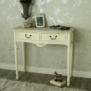 Antoinette Range - Cream 2 Drawer Console Table