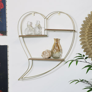 Gold Wire Metal Heart Shelving Unit