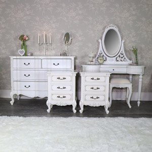 Antique Cream Dressing Table Set, Chest of Drawers and Pair of Bedsides - Limoges Range
