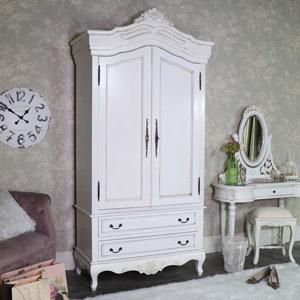 Large Cream Armoire Style Double Wardrobe - Limoges Range