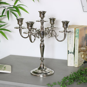 Polished Silver 5 Arm Candelabra