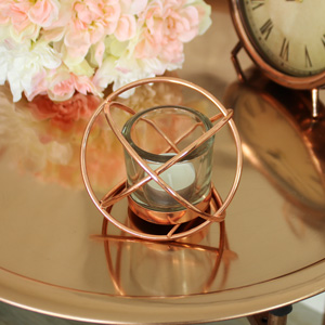 Copper Sphere Tealight Candle Holder