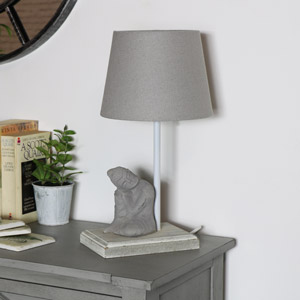Grey Resting Buddha Bedside Table Lamp