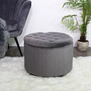 Round Grey Velvet Storage Stool/Pouffe