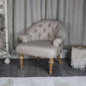 Beige Linen Paris Armchair