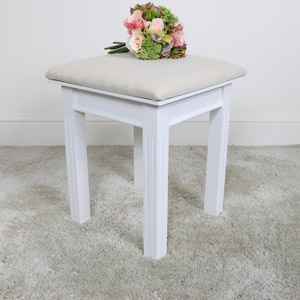 White Painted Dressing Table Stool - Daventry White Range