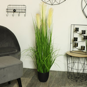 Tall Potted Artificial Grass Bush
