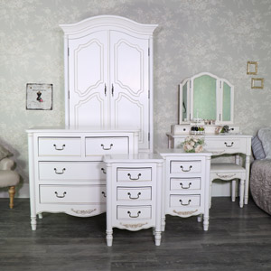 Cream Bedroom Furniture Set, Double Wardrobe, Chest of Drawers, Pair of Bedside Chest, Dressing Table Set - Adelise Range