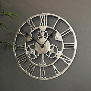 Silver Cog Skeleton Wall Clock