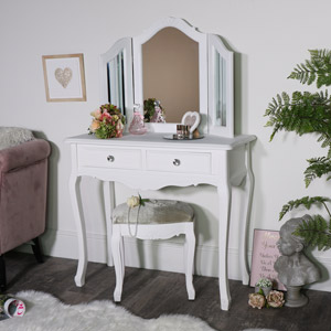 White Dressing Table, Triple Mirror and Stool Set - Elise White Range