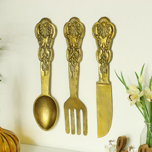 Oversized Gold Cutlery Set Wall Decor