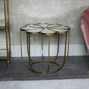 Ornate Gold Flower Shape Mirrored side table