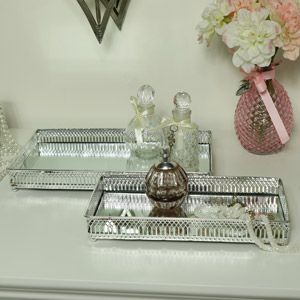 Decorative Silver Mirrored Display Trays