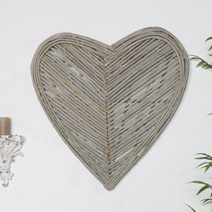 Large Rustic Wicker Heart Wall Art