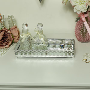 Decorative Polished Silver Mirrored Display Tray