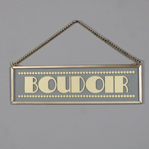 "Hanging Glass Gold ""Boudoir"" Plaque"