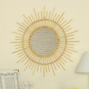 Round Sunburst Wall Mirror in Natural Rattan