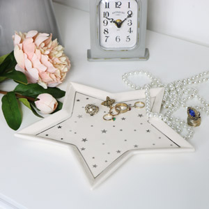 White Ceramic Star Trinket Dish