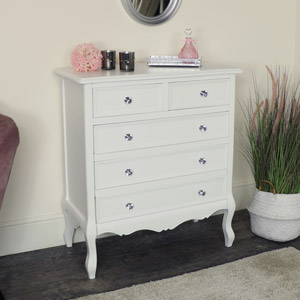 White 5 Drawer Chest of Drawers - Victoria Range