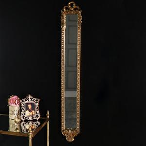 Ornate Gold Vintage Rose Detailed Slim Wall Mounted Mirror