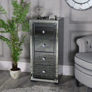 Mirrored Tallboy Chest of Drawers - Verona Range