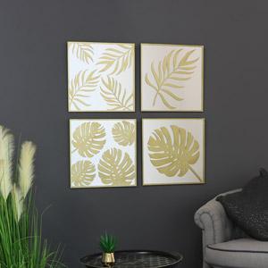 Decorative Gold Metal Leaf & Mirror Wall Art Plaques